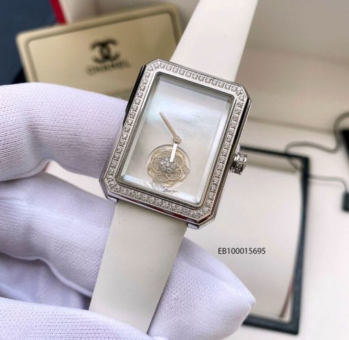 Đồng hồ Chanel Premiere dây da thật màu trắng cao cấp