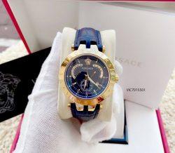 Đồng Hồ Versace Cặp Nam Nữ Dây Da Màu Xanh Cao Cấp