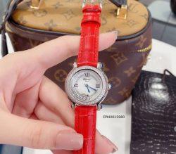 Đồng hồy nữ Chopard Happy Diamond đính đá dây da màu đỏ replica 1:1