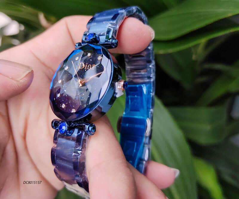 Đồng hồ Dior nữ dây thép không gỉ cao cấp màu xanh