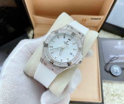 Đồng hồ Hublot nữ dây cao su Bigbang Diamond sliver dây màu trắng