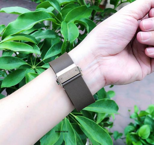 Đồng hồ cặp Hublot Geneve siêu cấp dây màu nâu