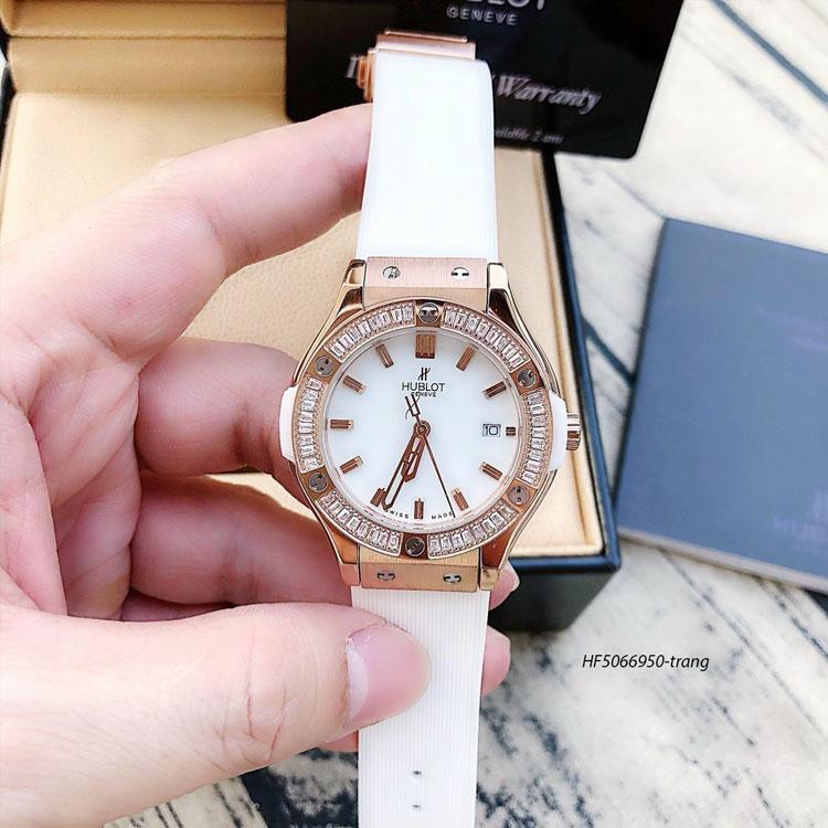 Đồng hồ Hublot nữ dây cao su Bigbang Diamond sliver dây màu trắng, mua đồng hồ giá rẻ ở đâu uy tín