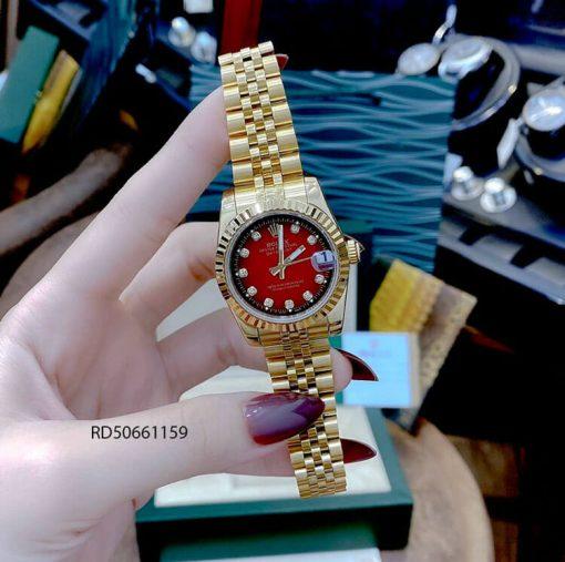 Đồng hồ Nữ Rolex Datejust vàng mặt đỏ cao cấp