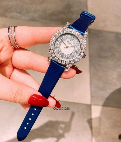 đồng hồ chopard nữ đính đá dây da xanh