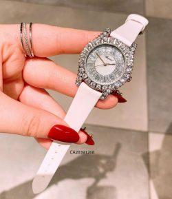 đồng hồ chopard nữ đính đá dây da trắng