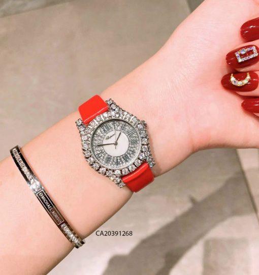 đồng hồ chopard nữ đính đá dây da đỏ