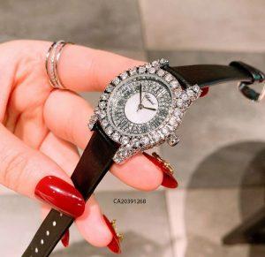 đồng hồ chopard nữ đính đá dây da đen