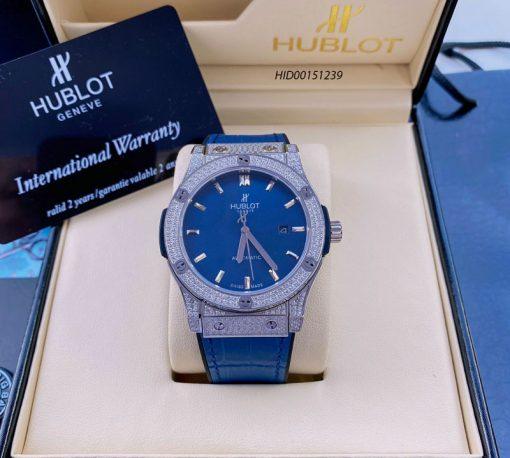 Đồng hồ nam Hublot Classic Fusion máy cơ Automatic dây cao su bọc da màu xanh