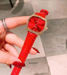 Đồng Hồ Rolex nữ dây da đỏ mặt vuông giá rẻ