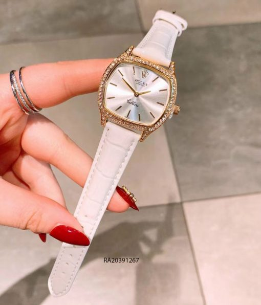 Đồng Hồ Rolex nữ dây da trắng mặt vuông giá rẻ