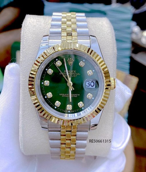 Đồng hồ Cặp Rolex Oyster Perpetual Datejust demi mặt xanh cao cấp
