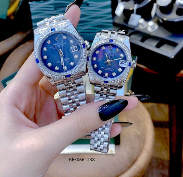 Đồng hồ Rolex Oyster Perpetual Datejust nữ dây trắng xanh cao cấp