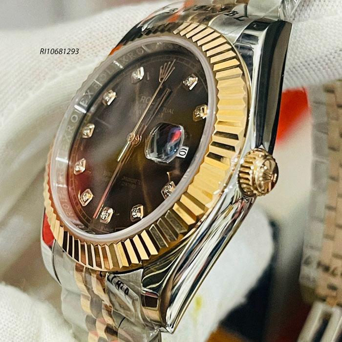 Đồng hồ Rolex Nam máy cơ automatic dây kim loại Demi mặt đen