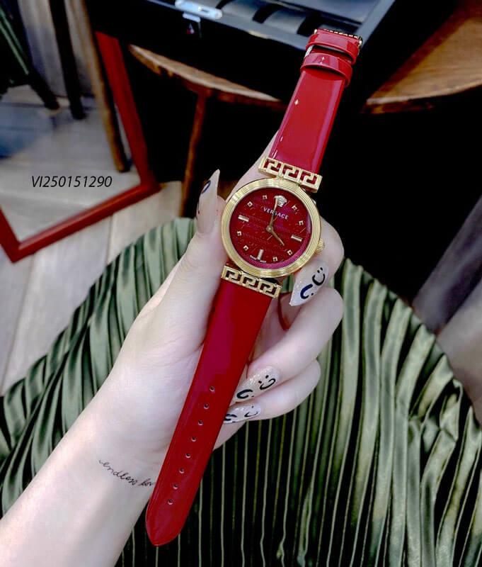 Đồng hồ Nữ Versace Meander Leather dây da màu đỏ xanh đen cao cấp