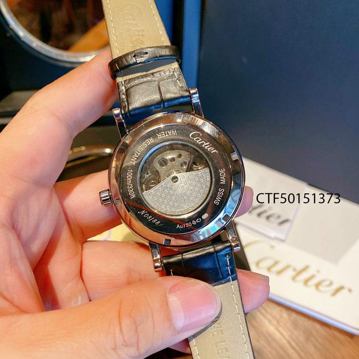 Đồng hồ Cartier chạy cơ tự động nam dây da màu nâu