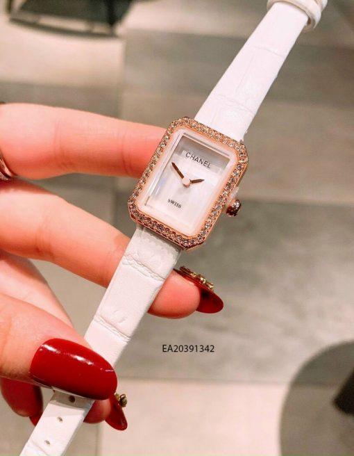 Đồng hồ nữ Chanel mặt vuông mini dây da trắng giá rẻ