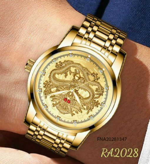 Đồng hồ nam rồng vàng mắt đỏ dây kim loại giá rẻ