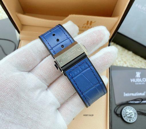 Đồng hồ hublot nam máy cơ đính đá dây cao su bọc da màu xanh