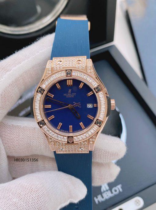 Đồng hồ hublot nữ đính đá full viền dây cao su màu xanh