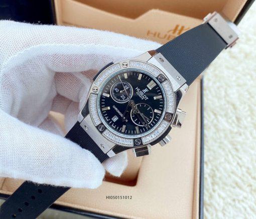Đồng hồ Hublot Geneve Chronograph 582888 Unisex 5 kim dây màu đen