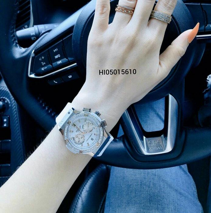 Đồng hồ Hublot Geneve Chronograph 582888 Unisex 5 kim dây màu trắng
