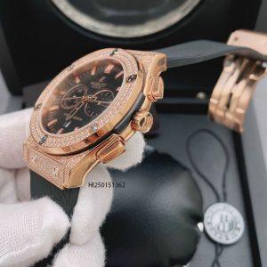 Đồng hồ Hublot Cặp nam nữ 6 kim viền bạc đính đá dây cao su cao cấp