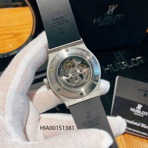 Đồng hồ Hublot Nam máy cơ Automatic dây cao su đen bọc da nâu
