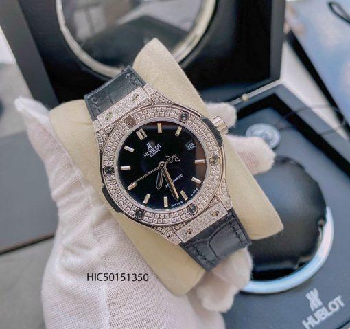 Đồng hồ Hublot nữ máy cơ đính đá dây cao su bọc da màu đen cao cấp