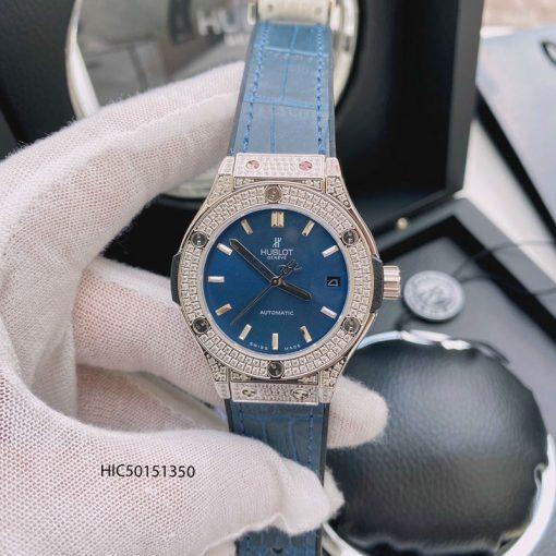 Đồng hồ Hublot nữ đính đá máy cơ dây bọc da màu xanh dương