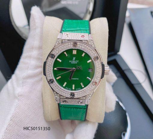 Đồng hồ Hublot nữ đính đá máy cơ dây bọc da màu xanh lá