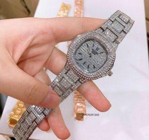 đồng hồ nữ Patek Philippe dây kim loại bạc đính đá giá rẻ