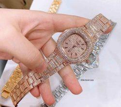 đồng hồ nữ Patek Philippe dây kim loại hồng đính đá giá rẻ