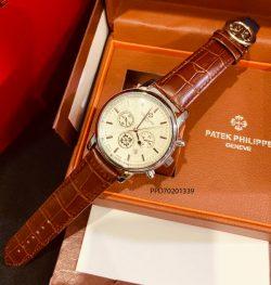 đồng hồ patek philippe 6 kim nam mặt trắng dây da nâu giá rẻ