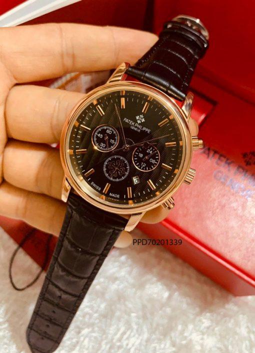 đồng hồ patek philippe 6 kim nam mặt đen dây da giá rẻ