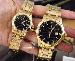 Đồng Hồ Rolex Cặp Nam/Nữ dây kim loại mặt đen đính kim cương
