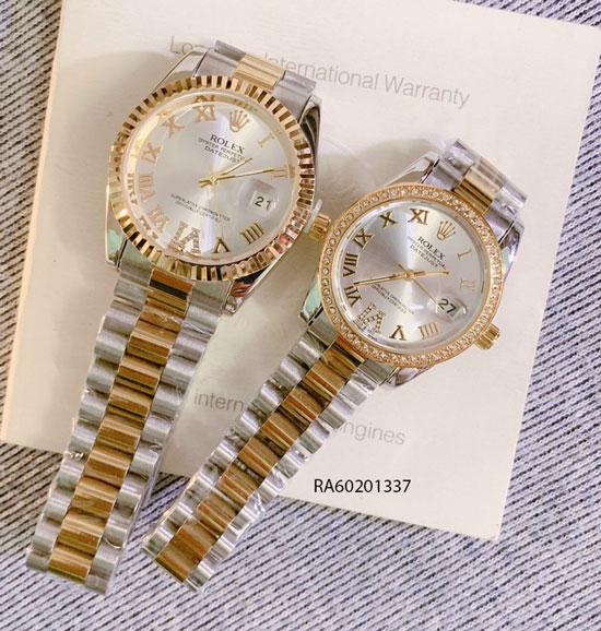 Đồng Hồ Rolex Cặp dây đúc đặc demi mặt trắng đính đá giá rẻ