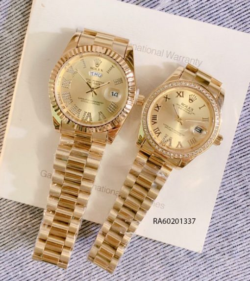 Đồng Hồ Rolex Cặp dây đúc đặc vàng đính đá giá rẻ