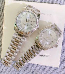 Đồng Hồ Rolex Cặp dây đúc đặc trắng đính đá giá rẻ