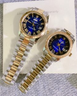 Đồng Hồ Rolex Cặp dây đúc đặc demi mặt xanh đính đá giá rẻ