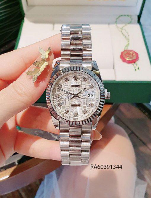 Đồng hồ nam mặt vân dây đúc đặc màu bạc giá rẻ