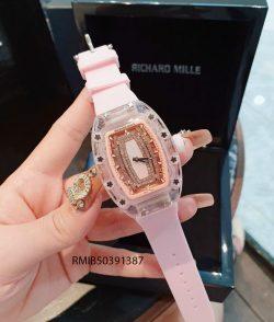Đồng hồ Nữ Richard Mille dây cao su màu hồng cao cấp