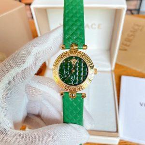 Đồng hồ Versace nữ mini Vanitas dây da màu xanh máy pin thụy sỹ