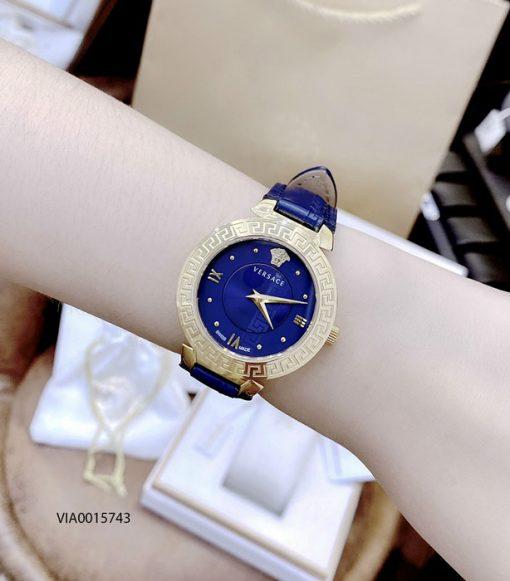 Đồng hồ Versace Daphnis nữ dây da màu xanh cao cấp