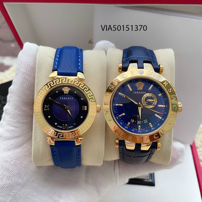Đồng Hồ Cặp Versace Versace V-Race và Daphnis dây da màu xanh cao cấp