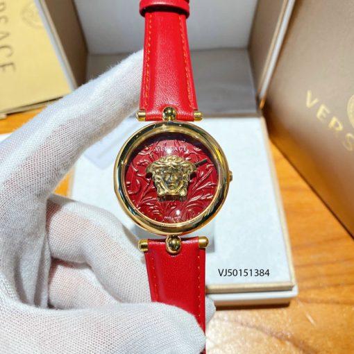 Đồng hồ Versace Palazzo Empire Barocco mặt tròn nữ dây da đỏ