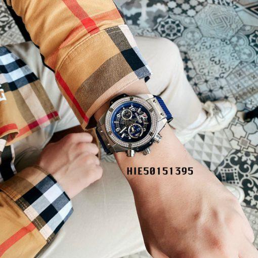 Đồng hồ Hublot Nam đính đá Big Bang dây cao su màu xanh cao cấp