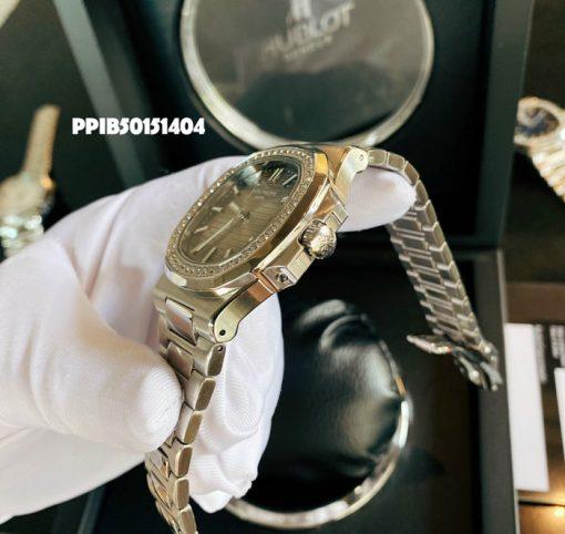 Đồng Hồ Patek Philippe Nautilus đính đá dây kim loại máy cơ cao cấp