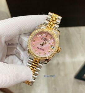 Đồng hồ Rolex Nữ DATEJUST máy Pin Nhật dây demi mặt hồng cao cấp