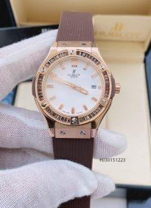 Đồng hồ Hublot nữ đính kim cương dây màu nâu